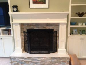 Stone and Trim Fireplace
